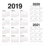 Malplaatje van het de kalender het vectorontwerp van 2021 van jaar 2019 2020 stock illustratie