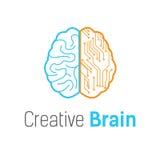 Malplaatje van het het embleemontwerp van de hersenentechnologie het vector stock illustratie