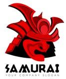Malplaatje van het het masker het vectorembleem van het samoeraiengezicht Stock Fotografie