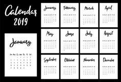 Malplaatje van het kalender 2019 het vectorontwerp De week begint van Zondag stock illustratie