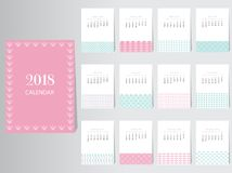 Malplaatje van het kalender 2018 het Vectorontwerp met abstract patroon, Reeks van 12 Maanden, illustraties Stock Afbeeldingen
