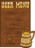 Het menumalplaatje van het bier Stock Afbeelding