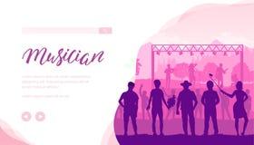 Malplaatje van het musicus het vectorlandingspagina stock illustratie