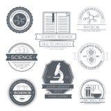 Malplaatje van het wetenschaps het vastgestelde etiket van embleemelement voor Stock Afbeeldingen