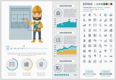 Malplaatje van Infographic van het Constraction het vlakke ontwerp royalty-vrije illustratie