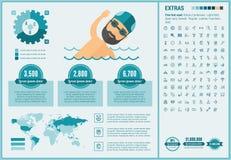 Malplaatje van Infographic van het sporten het vlakke ontwerp Royalty-vrije Stock Foto's