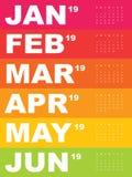 Malplaatje van kalender voor 2019 Stock Afbeelding