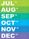 Malplaatje van kalender voor 2019 Royalty-vrije Stock Afbeeldingen