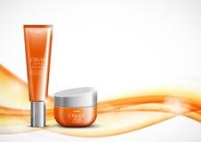 Malplaatje van lichaamscrème het kosmetische advertenties stock illustratie