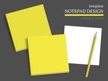 Malplaatje van notitieboekjedekking en documenten Stock Foto's