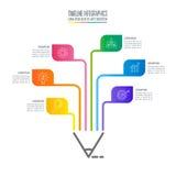 Malplaatje 6 van onderwijsinfographics stapoptie Chronologie infograph stock illustratie
