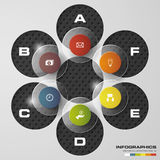 Malplaatje van ontwerp het schone banners/grafische of websitelay-out 6 stappengrafiek Vector Stock Fotografie
