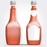 Malplaatje van plastiek of glasflessen voor ketchup of andere vloeistof vector illustratie