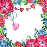 Malplaatje van waterverf het Zoete die bloemen op witte backgroun wordt geïsoleerd royalty-vrije illustratie