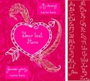 Malplaatje voor de groetkaart van Valentine ` s Stock Foto
