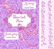 Malplaatje voor de groetkaart van Valentine ` s met met de hand geschreven alfabet Stock Foto