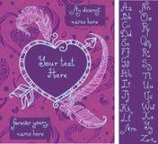 Malplaatje voor de groetkaart van Valentine ` s met met de hand geschreven alfabet Stock Afbeeldingen