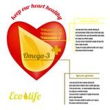 Malplaatje voor de reclame van vistraan van ecologisch schone zeewaters, omega-3 en vitaminen A, D, E stock illustratie