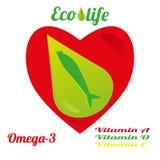 Malplaatje voor de reclame van vistraan van ecologisch schone zeewaters, omega-3 en vitaminen A, D, E royalty-vrije illustratie