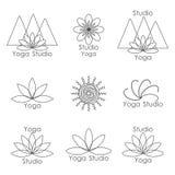 Malplaatje voor embleem van yogastudio Stock Afbeelding