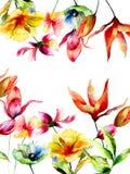 Malplaatje voor groetkaart met Gestileerde bloemen Royalty-vrije Stock Afbeelding