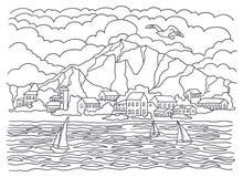 Malplaatje voor het kleuren Overzeese kleuring Landschap het schilderen Overzees, golven, kalmte, zeilboten, kust, huizen, bomen  stock illustratie