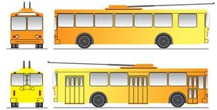 Malplaatje voor het ontwerp van trolleybus Stock Fotografie
