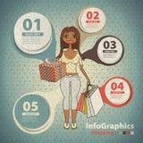 Malplaatje voor infographic bij het winkelen in wijnoogst Stock Foto