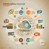 Malplaatje voor infographic voor wolkencomputertechnologie Royalty-vrije Stock Afbeeldingen