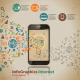 Malplaatje voor infographic voor wolkencomputertechnologie in vintag Stock Afbeeldingen