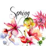 Malplaatje voor kaart met Decoratieve de zomerbloemen Royalty-vrije Stock Afbeeldingen
