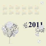 Malplaatje voor kalender 2011 Royalty-vrije Stock Afbeeldingen