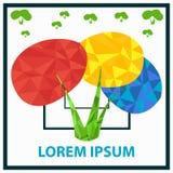 Malplaatje voor logotype De struik van de primaire kleuren Veelhoekstruik Stock Afbeeldingen