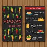 Malplaatje voor menu of boekje met beeldverhaal Mexicaan Stock Afbeeldingen