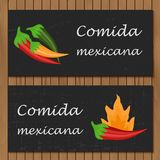 Malplaatje voor menu of boekje met beeldverhaal Mexicaan Stock Foto