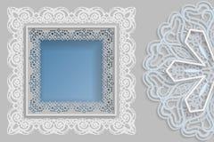 Malplaatje voor ontwerp - vierkant kader met kantranden en 3D mandala aan de kant Malplaatje voor huwelijk en andere gelukwensen  royalty-vrije illustratie