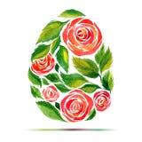 Malplaatje voor Pasen-groetkaart of uitnodiging Gelukkige Pasen! De waterverfbloem nam ei toe Royalty-vrije Stock Afbeelding