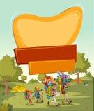 Malplaatje voor reclamefolder met leuke beeldverhaaljonge geitjes royalty-vrije illustratie