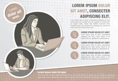 Malplaatje voor reclamefolder met mensen die met computer werken royalty-vrije illustratie
