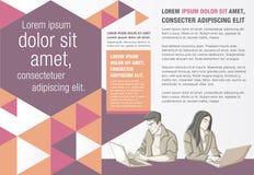 Malplaatje voor reclamefolder met mensen die met computer werken vector illustratie