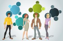Malplaatje voor reclamefolder met mooie jongeren vector illustratie