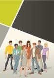 Malplaatje voor reclamefolder met mooie jongeren stock illustratie