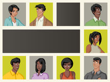 Malplaatje voor reclamefolder met mooie jongeren royalty-vrije illustratie
