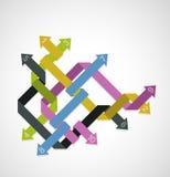 Malplaatje voor reclamefolder met pijlen stock illustratie