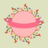 Malplaatje voor uitnodiging, embleem, prentbriefkaar met bloemenkader en pi Royalty-vrije Stock Afbeelding
