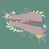 Malplaatje voor uitnodiging, prentbriefkaar met linten en decoratief Stock Fotografie