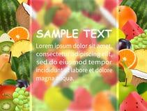 Malplaatje voor uw ontwerp De achtergrond van het fruit Berijpt glas vector illustratie