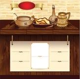 Malplaatje voor voedsel retro website Stock Foto