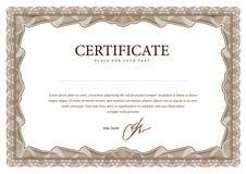 Malplaatjecertificaat, munt en diploma's. Stock Afbeelding