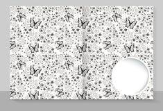Malplaatjedekking van een voorbeeldenboek met een individueel ontwerp: vlinders royalty-vrije illustratie